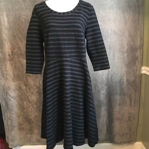 Lane Bryant Striped Knit Fit and Flare Dress 14 16